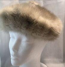 Vintage Betmar Elegante NY Paris Gimbels Gray Genuine Fur Beret Tam Hat-Estate