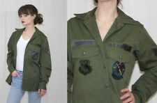 Vintage 80s 1980 AIR FORCE Utility Fatigue Green Shirt Retro Patches Thornton M