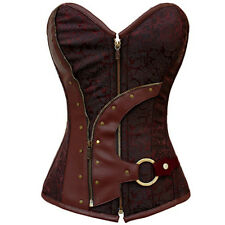 Plus Size New Zip Front Gothic Corset Leather Steampunk Bustier Body Shapewear
