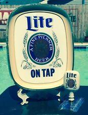 Miller Lite Beer~Vintage*On Tap*Sign & Porcelain Tap Handle~UNION MADE-U.S.A.