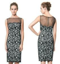Tadashi Shoji Black Ivory Illusion Mesh Sleeveless Lace Sheath Dress $308