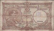Belgium  20 Francs  20.02.1940  P 111 Series N  Circulated Banknote
