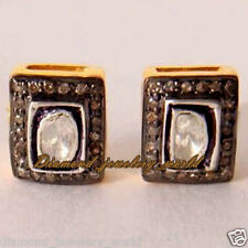 Estate Vintage 1.40ct Real Rose Antique Cut Diamond Silver Jewelry Studs Earring