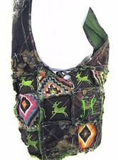 Western Camo Mossy Oak DEER Embroidery Cross Body Aztec Messenger Rag Bag Green
