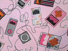 MUSIC IPOD EAR BUDS SONGS SPEAKERS PINK BACKGROUND COTTON FABRIC FQ