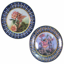 PAIR/PLATES CHARGERS 36CM VICTORIA WARE IRONSTONE BLUE BORDER FLOWER FAIRY