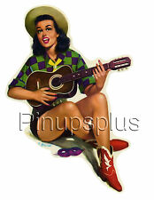 Pinup Girl Ukulele Cowgirl Waterslide Decal great for smooth surfaces S113