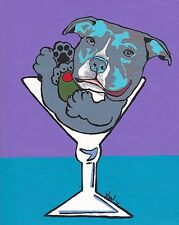 11X14 Blue Pit Bull Terrier Martini Dog Pop Art Print of Original Painting Vern