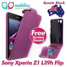 Sony Xperia Z1 L39h PU Leather Flip Case Cover with Wallet Card Holders Purple