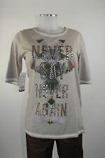 Apriori T-Shirt 38 lang beige Applikation Baumwolle Top neu mit Etikett