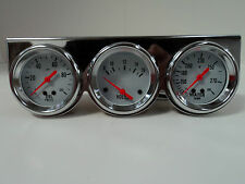 "Universal 2 5/8"" Chrome Oil Pressure Water Volt Triple 3 Gauge Set Gauges Kit"