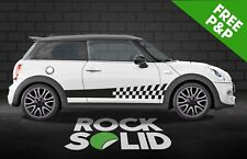Mini Cooper solid to checkered increasing side stripe