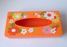 Retro Vintage Tissue/Kleenex Box Cover/Holder Orange Flower Power Plastic/Lucite