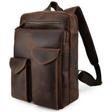 "Retro Top Grain Leather Backpack Men Travel 14"" Laptop Satchel Daypack Book Bag"