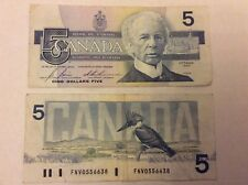 1986 Canadian Five Dollar banknote, circulated.