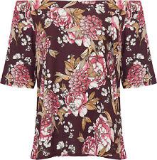 Womens Plus Bardot Floral Print Top Ladies Short Sleeve off Shoulder Elasticated Wine 26-28