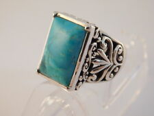 BARSE TURQUOISE STERLING RING SZ 9.25 ARTISAN FILIGREE HANDCRAFTED SILVER 925
