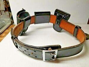 "Dutyman Police Equipment 1511 Full grain leather belt Size 32 1.5/"" Nickle//silver"