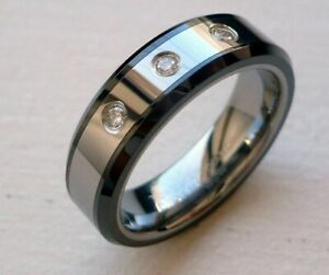 TUNGSTEN CARBIDE 3GENUINE DIAMONDS 6MM MEN'S BAND WITH BLK CERAMIC EDGES SZ4-9.5