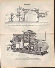 Lithografien 1890: Schnellpresse. Presse Rotations-Buchdruckmaschine Falzapparat