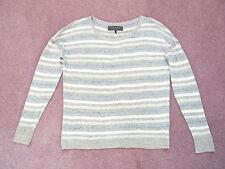 Rag & Grigio A Righe Bone 100% LINO maglione da New York in buonissima condizione Taglia XS UK 6/8