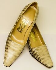 """Salvatore Ferragamo Made In Italy 6 Aa Reptile Emboss 3"""" Pumps,Good Used Cond."""