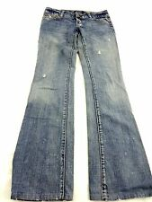 AMERICAN EAGLE WOMENS MED WASH BLUE DENIM DISTRESSED BOOTCUT JEANS SIZE 0