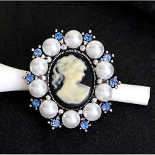Vintage Crystal Rhinestone Pearl Lady Cameo Brooch Pin Pendant Fashion Jewelry
