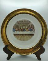 """Rare Antique 22 Karet Gold Last Supper 10"""" Plate HTF Religious Decor Jesus"""
