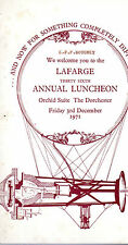 MENU CARD - LAFARGE ANNUAL LUNCH AT THE DORCHESTER - WITH JIMMY EDWARDS (1971)