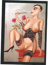 Manufaktur Alek Sander Sammelkarte naive Malerei Cohiba Habana Cognac Vertiko