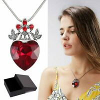 Valentines Evie Descendants Red Heart Crown Pendant Necklace Jewellery Gifts