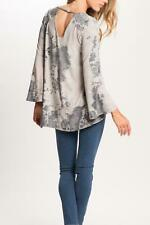 PPLA Storm Top Bell Sleeve Shirt Keyhole Long Sleeve Gray Tie-Dye Women's LARGE