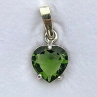 Moldavite Heart Pendant in 925 Silver Faceted Tektite Necklace With Certificate!