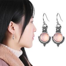 Birthday Gift Vintage Dangle Earring Silver Plated Rainbow Moonstone Ear Studs