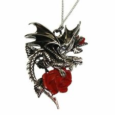 Draca Rosa Pewter Dragon Red Rose Pendant Necklace Carpe Noctum Anne Stokes CA04