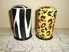 CLAY ART Safari StoneLite Utensil Salt & Pepper Shakers Zebra Leopard Africa