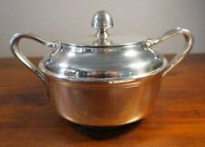 WWII USN Navy Silver Plate Covered Sugar Bowl Oversize