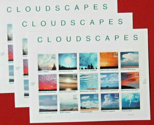 Three sheets x 15 each = 45 of CLOUDSCAPES Cloud Formations US 37¢ Stamps # 3878