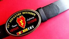 Vietnam Veteran 25th INFANTRY DIVISION  Epoxy Buckle & Black Bonded Leather Belt