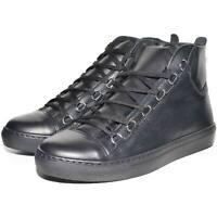 Sneakers uomo alta in vera pelle di nappa nera microforata fondo Basic nero con
