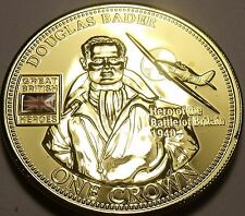 Proof Tristan Da Cunha 2010 Crown~50k Minted~Douglas Bader Hero~Gold Plated~Fr/S