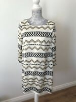BNWT Grace And Mila Cream Dress With Aztec and Zig Zag Print - Size S