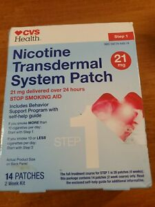CVS Health Nicotine Transdermal System Patch, Step 1, 14 Patches, Exp 07/22