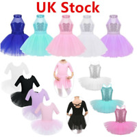 UK Kids Girls Sequins Ballet Dancewear Gymnastics Tutu Skirts Mesh Leotard Dress