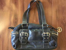MICHAEL KORS PURSE authentic BLACK LEATHER handbag NICE! barrell LARGE pockets