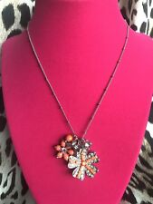 Betsey Johnson Coral Orange Glam Crystal Flower Charm Silver Necklace NWT $38