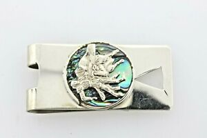 Taxco Mexico Vintage Sterling Silver 925 Bull Fighter Abalone Money Clip
