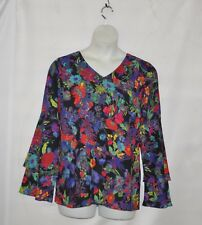 Linea by Louis Dell'Olio Exotic Floral Print Top Size 1X Black Multi