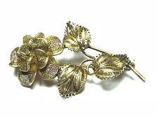 Vintage .925 Sterling Silver Gold Plate Filigree Flower Pin / Brooch - Patina!